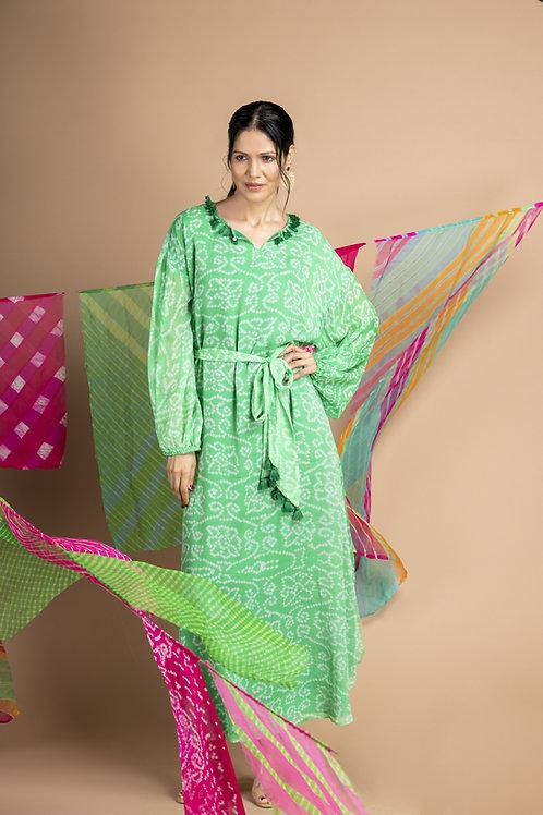 Green Bandhani Kurta Maxi