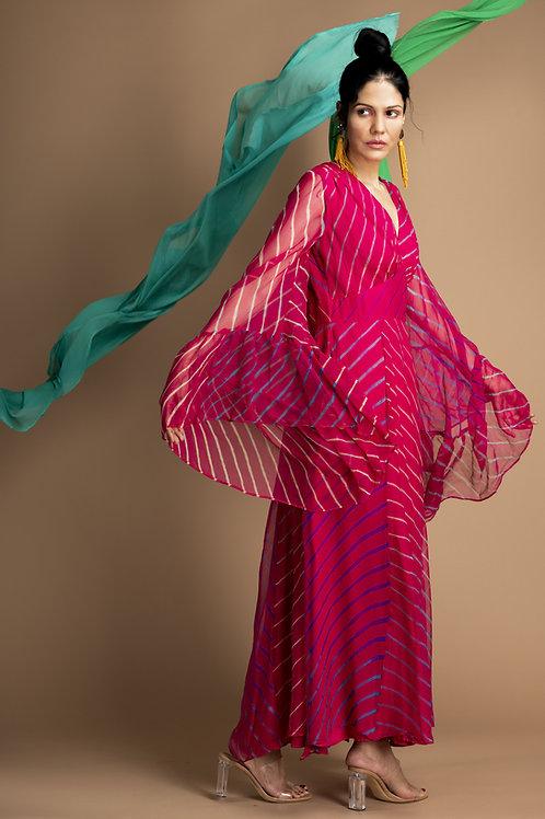 Pink Leheriya Kimono Dress