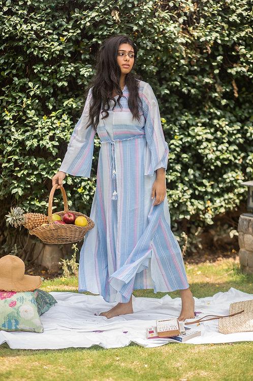 Blue Mat Jacket & Slip Dress
