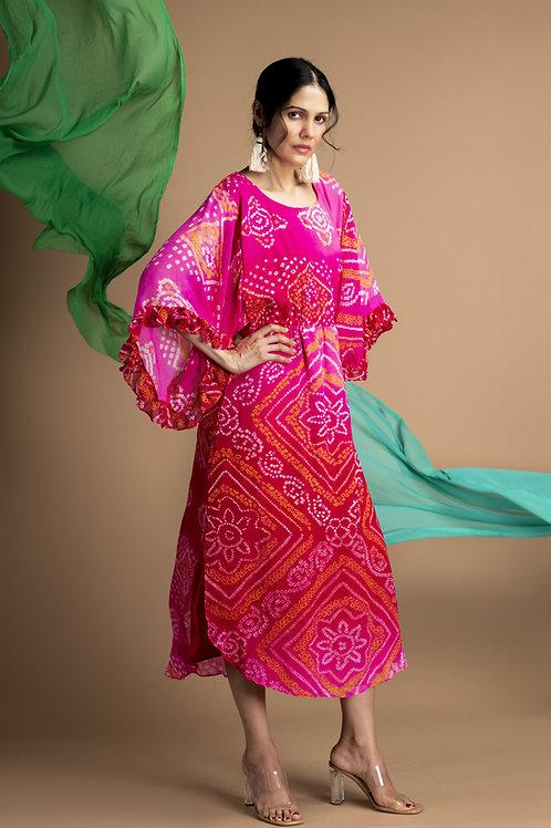 Pink Bandhani Kaftan Dress