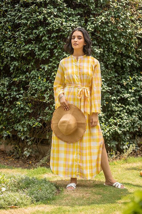 Yellow Picnic Shirt Dress