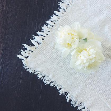 Ivory Fringe Picnic Blankets