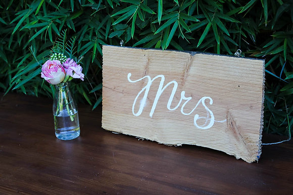 Mr & Mrs Rustic Wooden Hanging signs