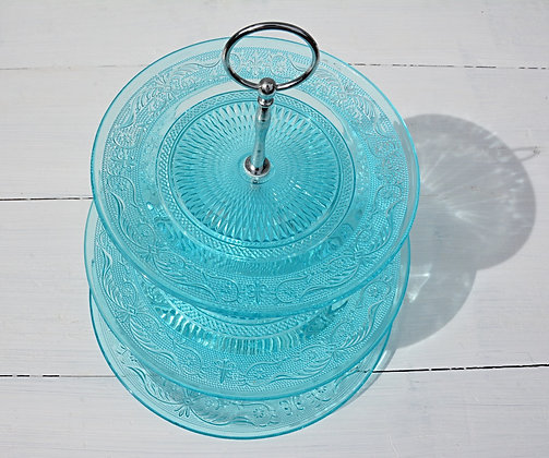 Three Tier Blue Glass Cake Stand