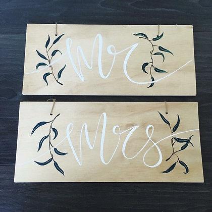 """Olive Leaf Collection - """"Mr"""" & """"Mrs"""""""