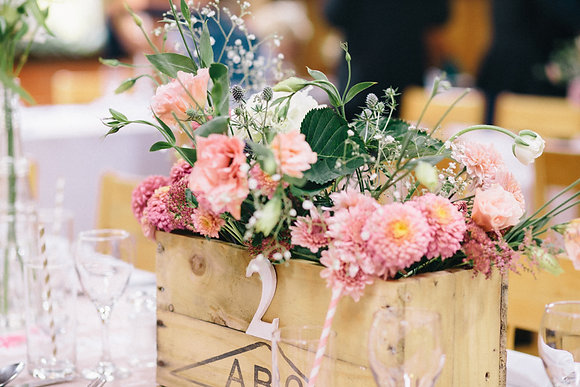 Wooden Crate Table Centrepiece/Numbers