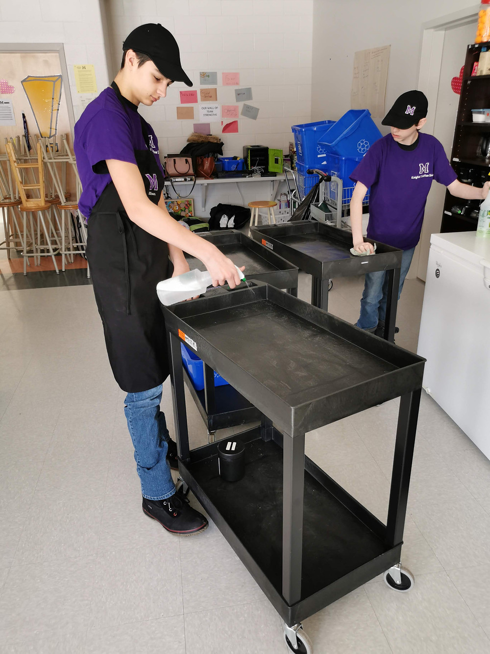 cleaning coffee cart