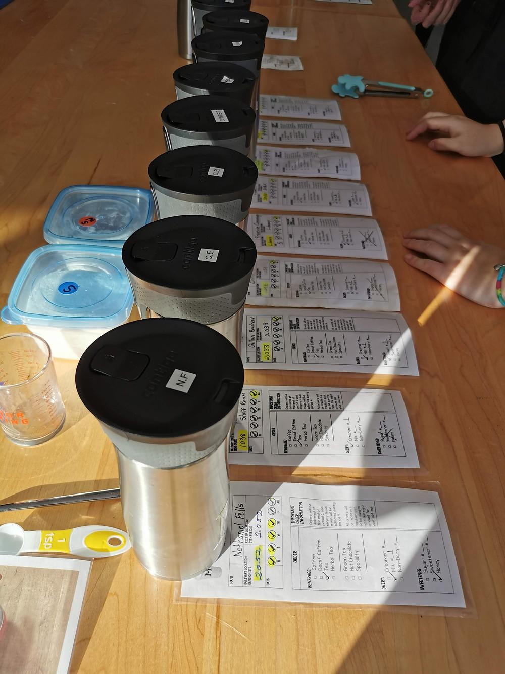 making coffee orders