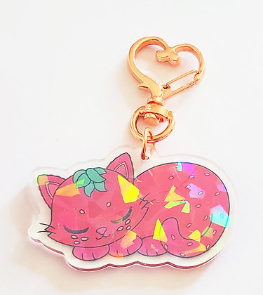 Strawpurry Dual Sided Holographic Acrylic Keychain