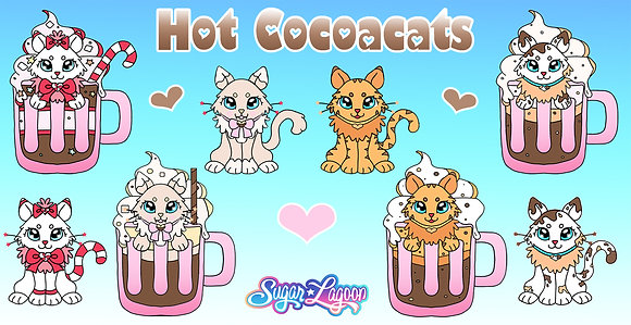 Hot Cocoacats Sticker Sheet