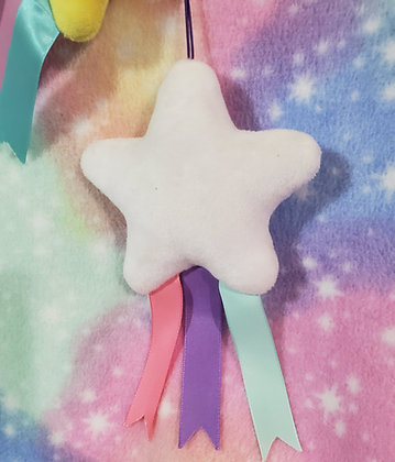 White Falling Star Plush Keychain