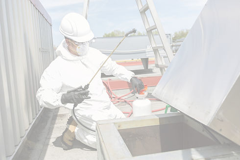 Man on cleaning suit