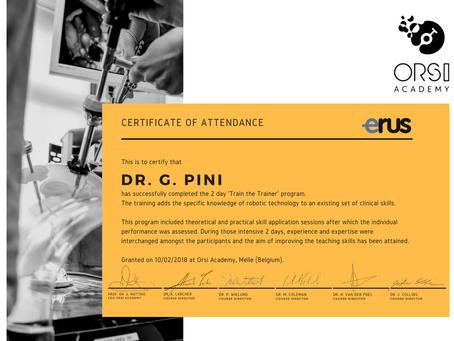 """Abilitazione a """"tutor di chirurgia robotica certificato ERUS"""" presso ORSI Academy, Corso &"""