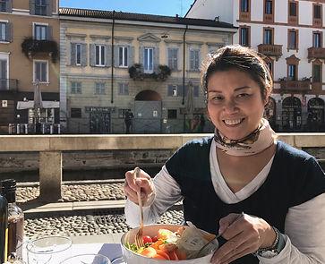 Dr. Della Chow in Italian cafe