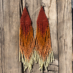 beaded earrings red desert lichen