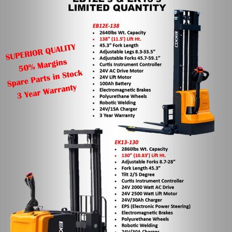 EKKO has 2 new equipment's available ek13-130 and eb12e-138