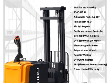 EKKO Introduces the ek13-130 walkie counterbalance stacker