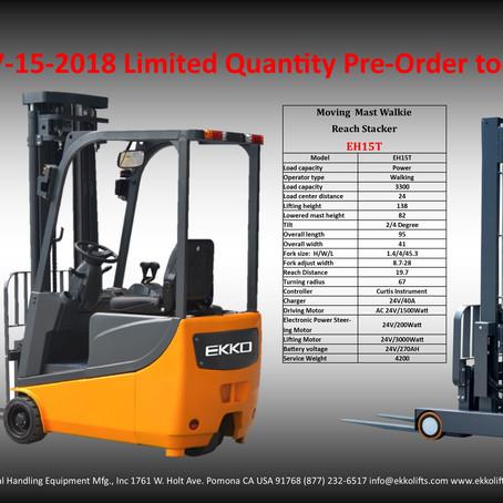 EKKO's EK13A: 3 Wheel Forklift & EH15T: Moving Mast Walkie Stacker