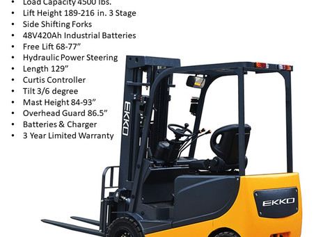 EKKO EK20R & EK20RL 4 wheel electric sit-down forklift