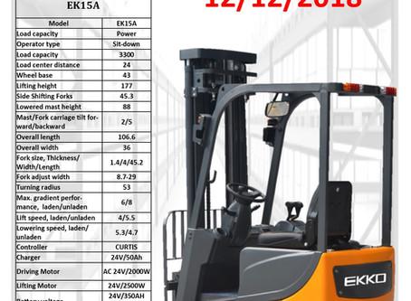 EKKO EK15A 3 Wheel Electric forklift w/side-shifting forks