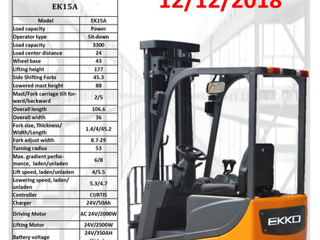 EKKO EK15A 3 Wheel Electric forklift w/side-shifting forks
