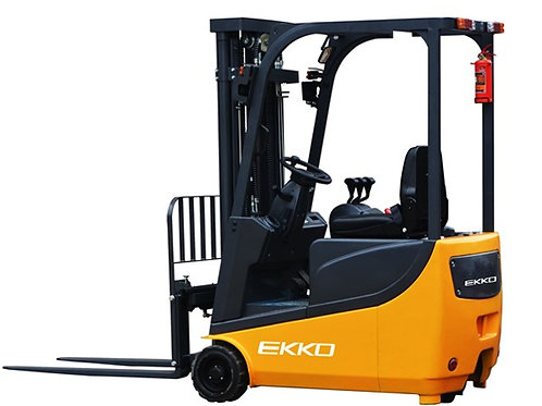 "EKKO EK15A 3 Wheel Electric Forklift, 3300 lb Cap., 177"" Lift Ht., Side Shift"