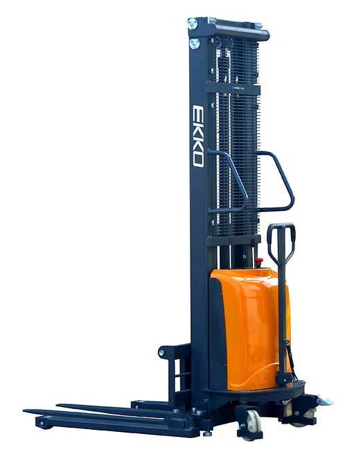 "EKKO EA15D Semi-Electric Straddle Stacker 3300lbs. Cap., 138"" Height"
