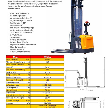 EKKO #EB16EA Walkie Straddle Stacker