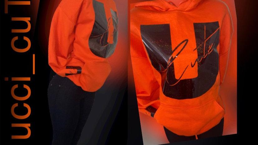 Orange Ucci Cute Hoodie w/holographic