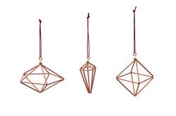 Copper Geometric  Irish Made Christmas Decorations.