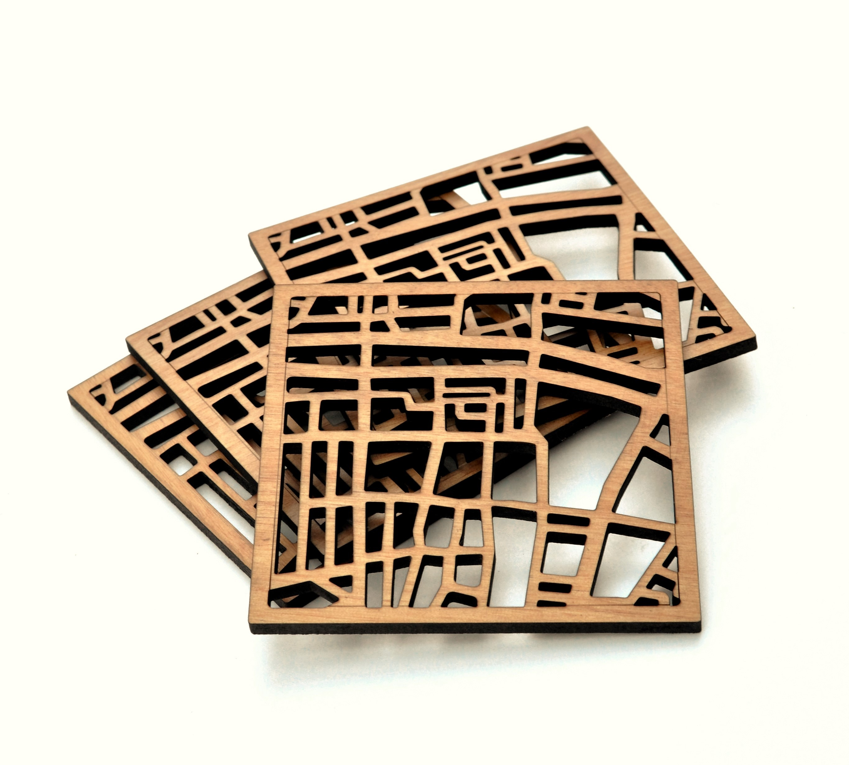 Dublin Map Coasters Stacked - Cut Out