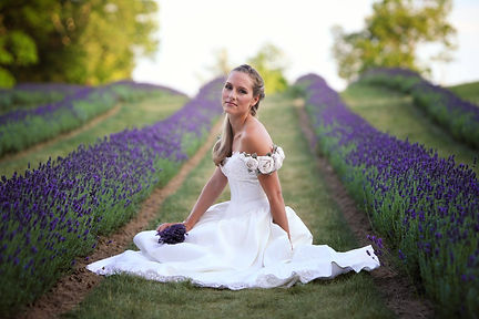 Bride Posed Sitting In Laveanne's Lavender Field.