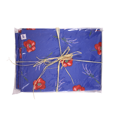 Lavender and Poppy (Royal Blue) Provence Tablecloth