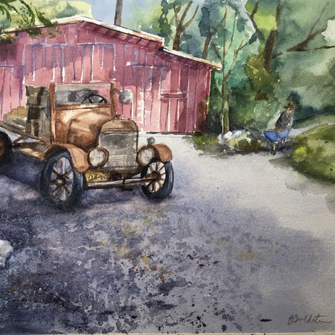 Ford truck in front of old Barn