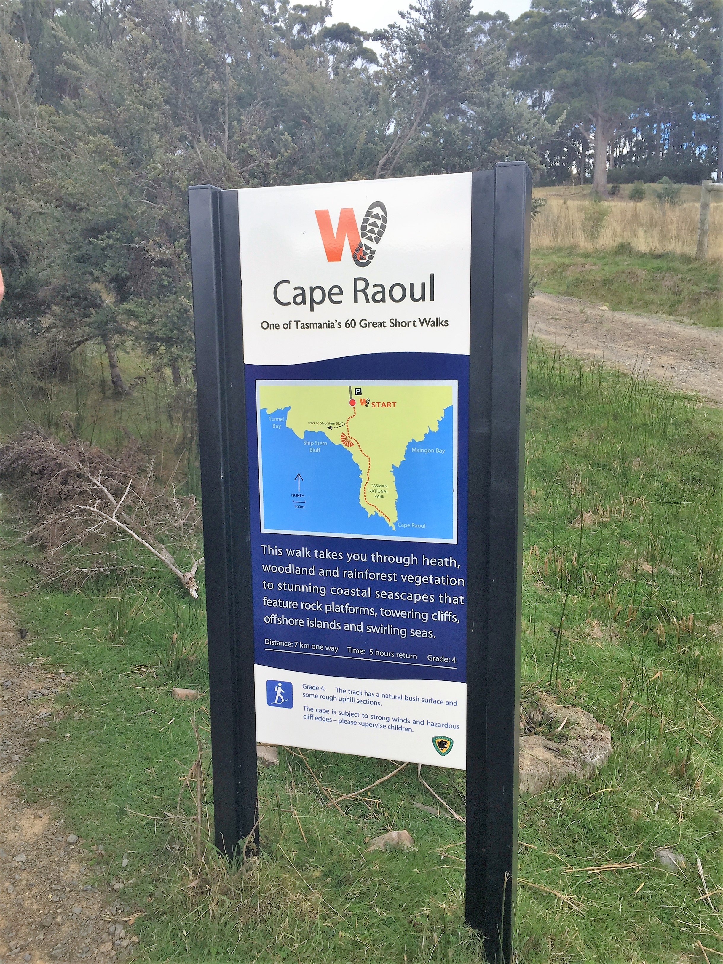 The start of Shipstern track walk which is the start of Cape Raoul walk also
