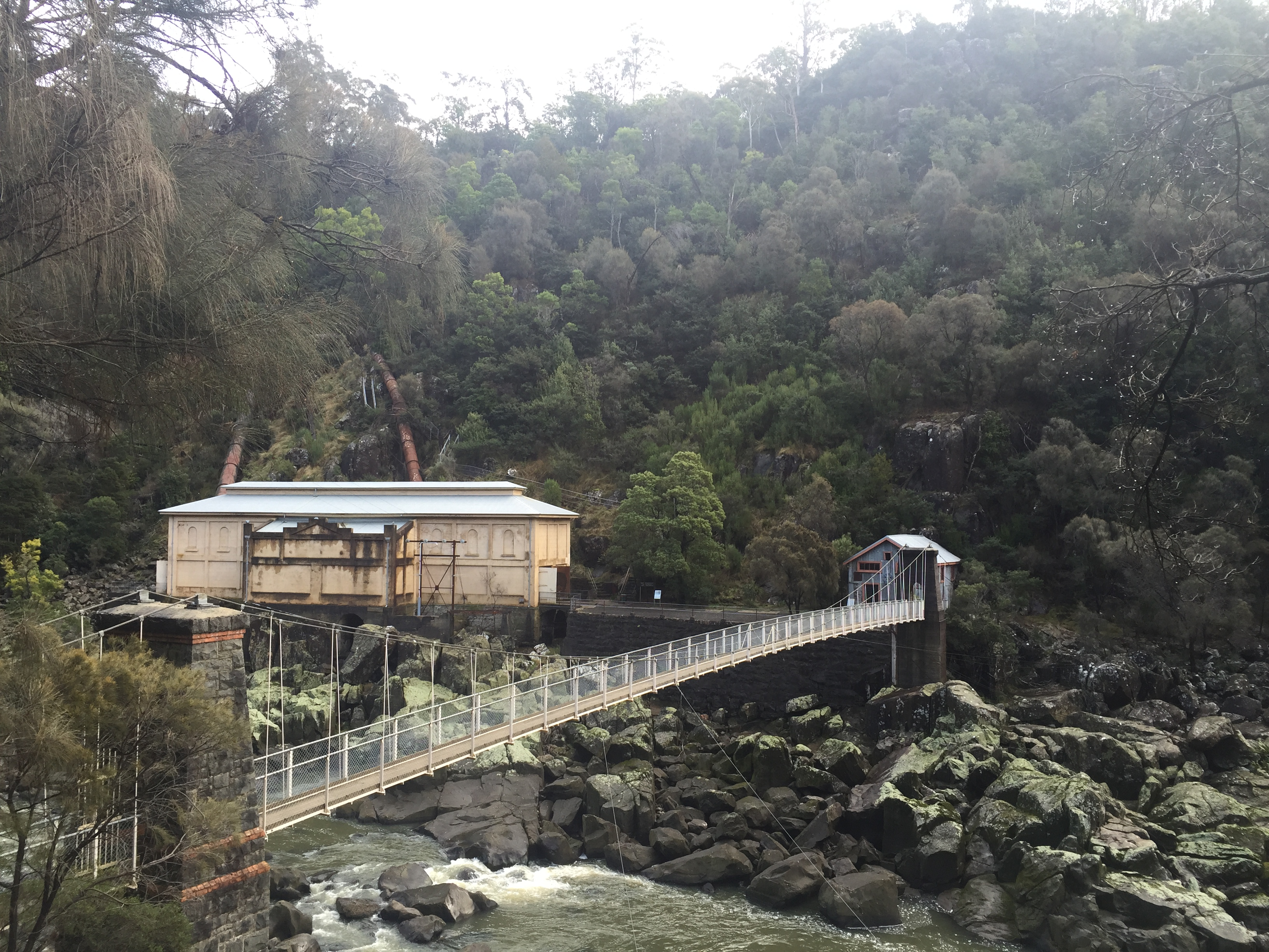 Heading towards the end of the track before crossing the suspension bridge to Duck Reach Power Stati
