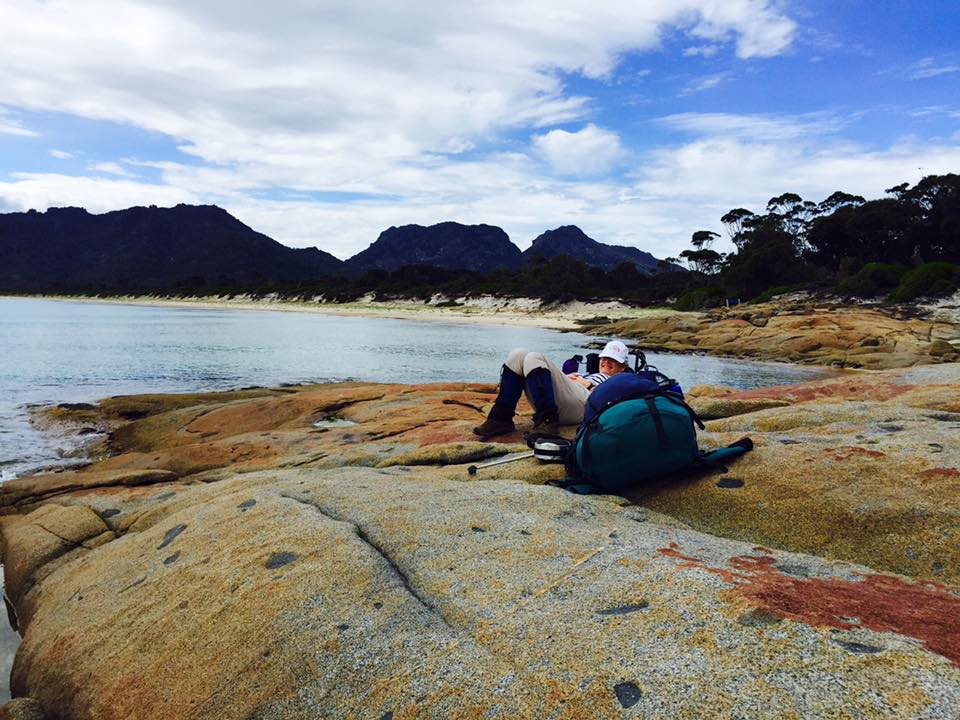 Having a rest at the other end of Hazards Beach Freycinet Circuit