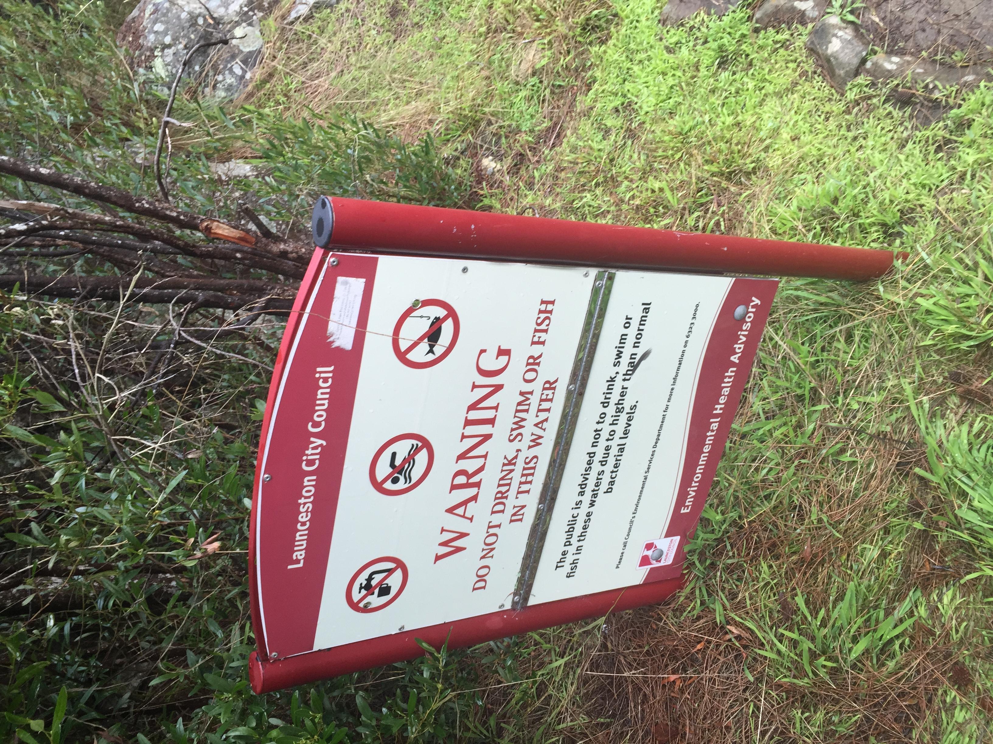 Warning sign - Duck Reach Power Station walk