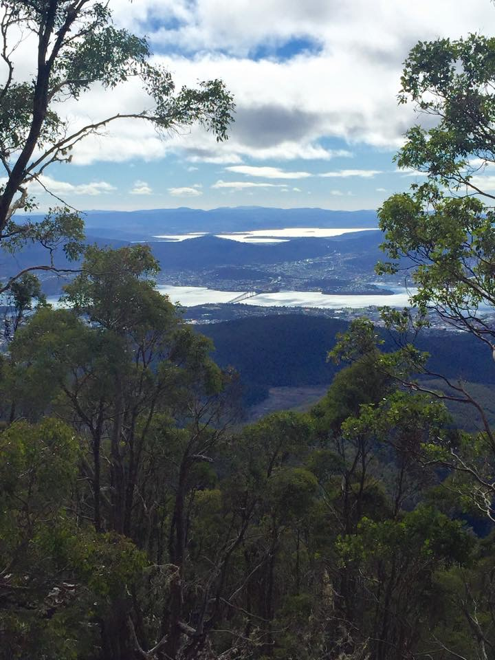 The view on the way up towards the Organ Pipes overlooking the Derwent River in Hobart below