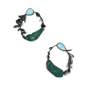 Dark and light green earring in the shape of a vine plant made from wello opal, dioptase, fine silver, sterling silver, cast sedum