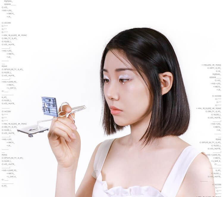 Girl looking into screen that is also a ring