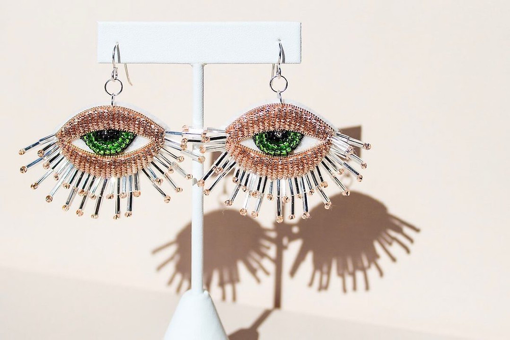Embroidered rose eye sterling silver french wire earrings with green iris