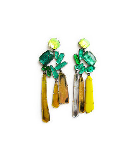 Green wreath earrings made from green plexiglass in the shape of a circle with long yellow drops hanging off each circle