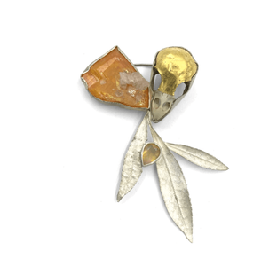 Brooch made from wulfenite, opal, sparrow skull, 23k gold, fine silver, sterling silver, cast pieris