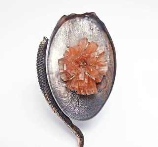Wabi-sabi brooch with large argonite crystal set in the middle