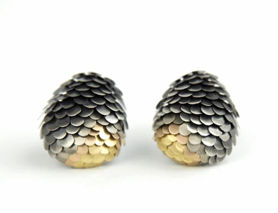 Amaru stud earrings with oxsidised silver, rose gold and yellow gold metal