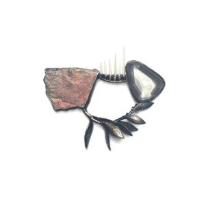 Brooch made from cadillacite, moon quartz and porcupine quills