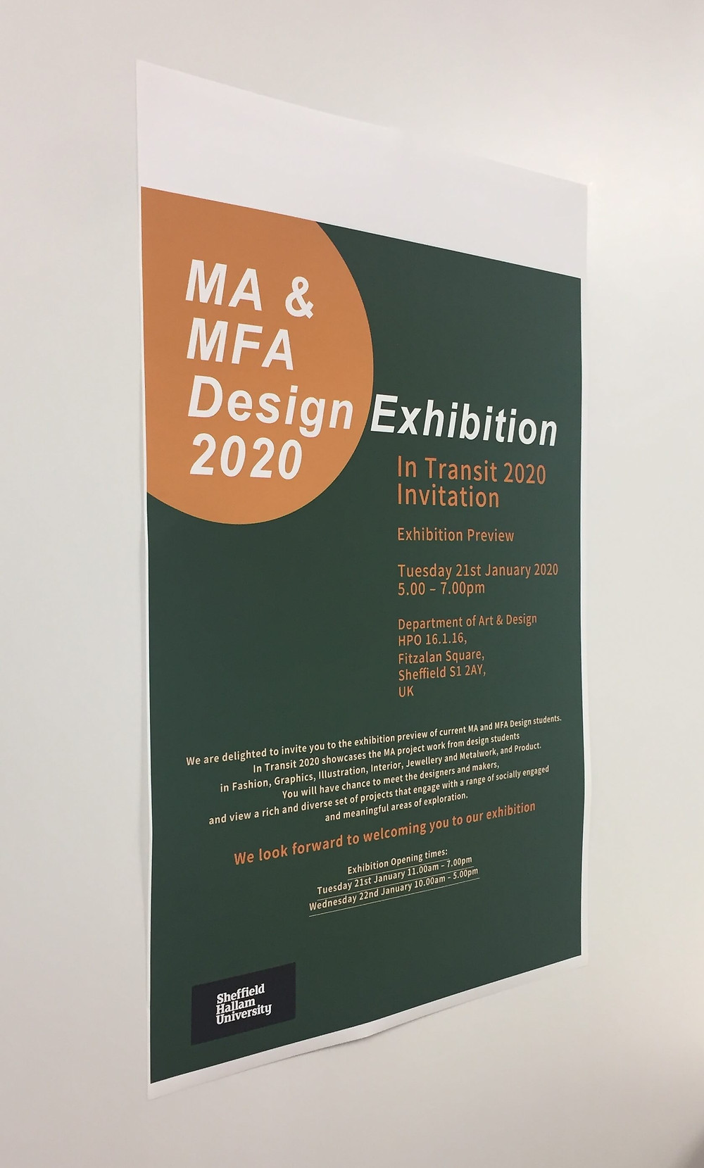 Sheffield Hallam masters design exhibition poster