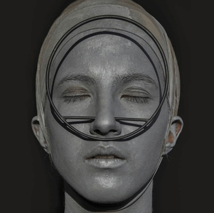 face painted silver with circle shaped mask balancing on the person's nose