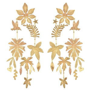gold earrings cut into shapes of leaves and birds